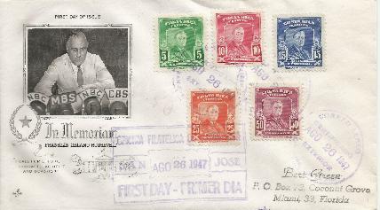 Costa Rica FDR Memorial FDC #1