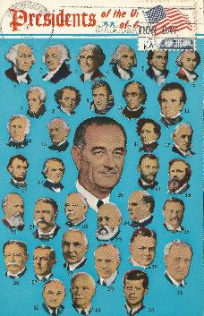 LBJ-II multiple presidents postcard