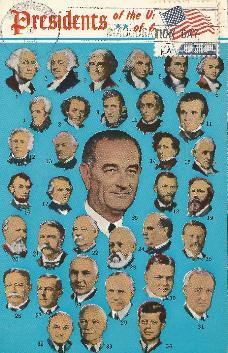 LBJ-II multiple presidents postcard