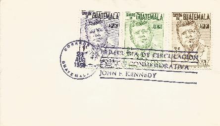 Guatemala JFK memorial 8-21-64 FDC