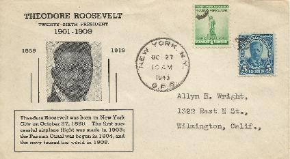 T Roosevelt 43-10-27 Special Event Cover #10