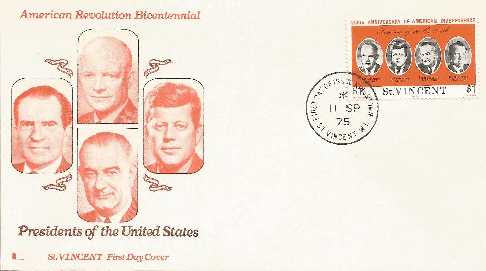 St Vincent US Bicentenntial Presidential Set of covers (9)