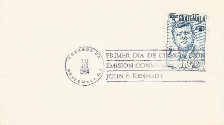 Guatemala JFK Memorial FDC 7-10-64