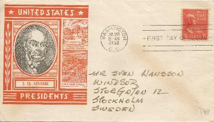38-06-28 John Quincy Adams Prexy FDC