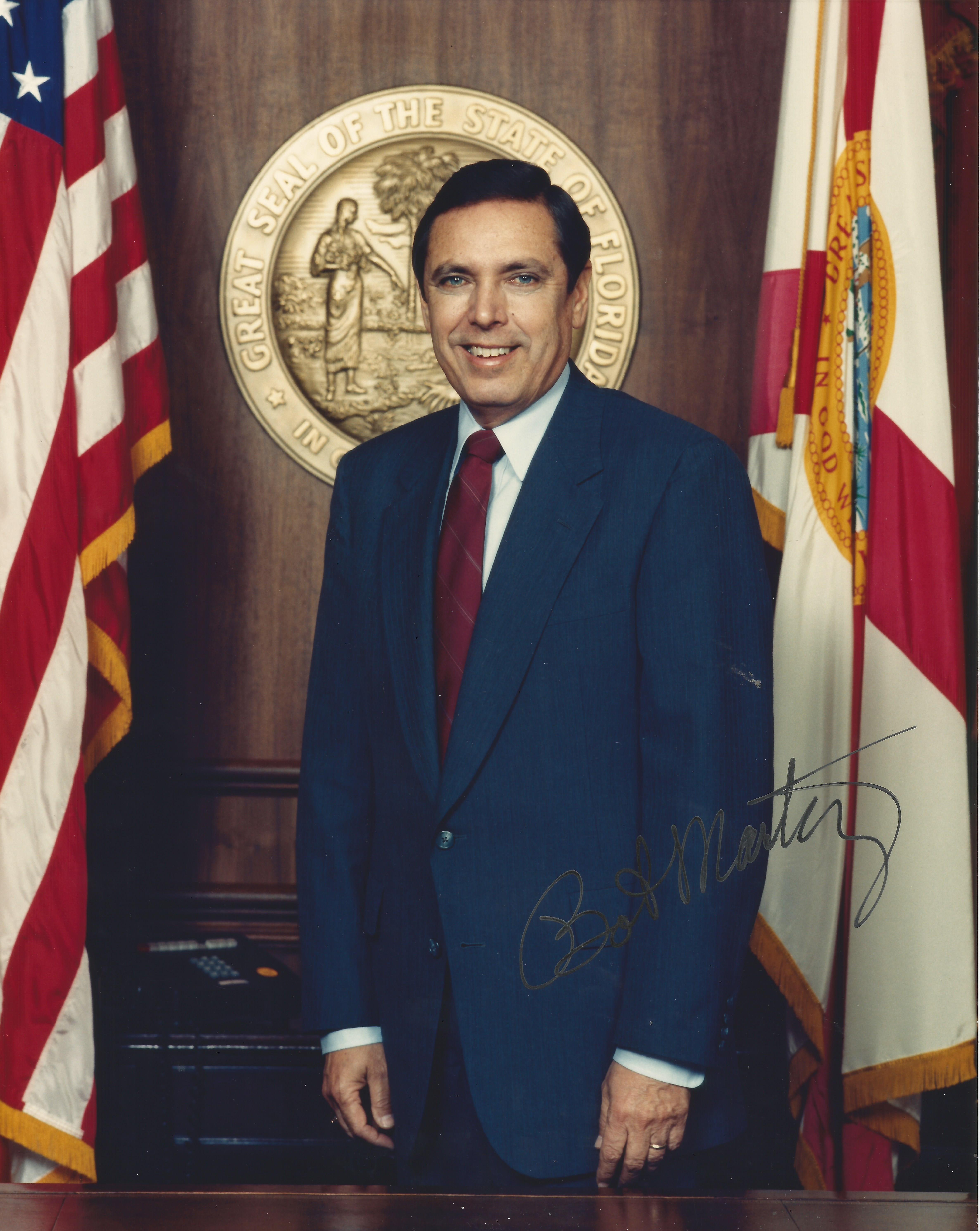 FL Gov Bob Martinez signed photo