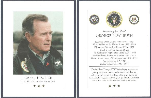 George H W Bush Funeral Card
