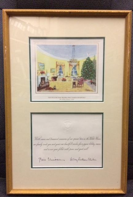 1996-2000 set of Framed Clinton Christmas Cards