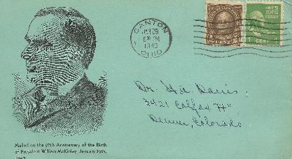 McKinley 40-01-29 Special Event Cover #7