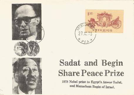 Sweden Sadat & Begin Share Peace Prize