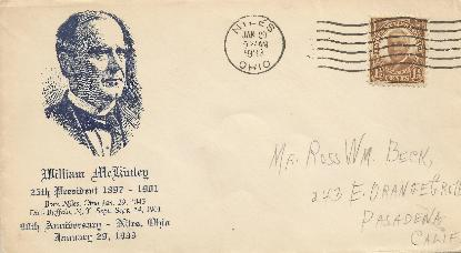 McKinley 33-01-29 Special Event Cover #2
