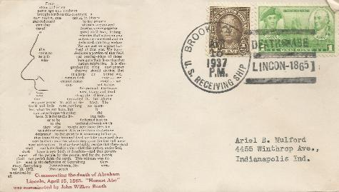 37-04-15 Lincoln death commenorative; Gettysburg Address