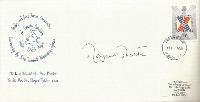 86 Commonwealth Conference signed by Margaret Thatcher