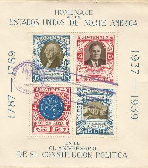 Guatemala FDR memorial 38-00-10 S/S FDC