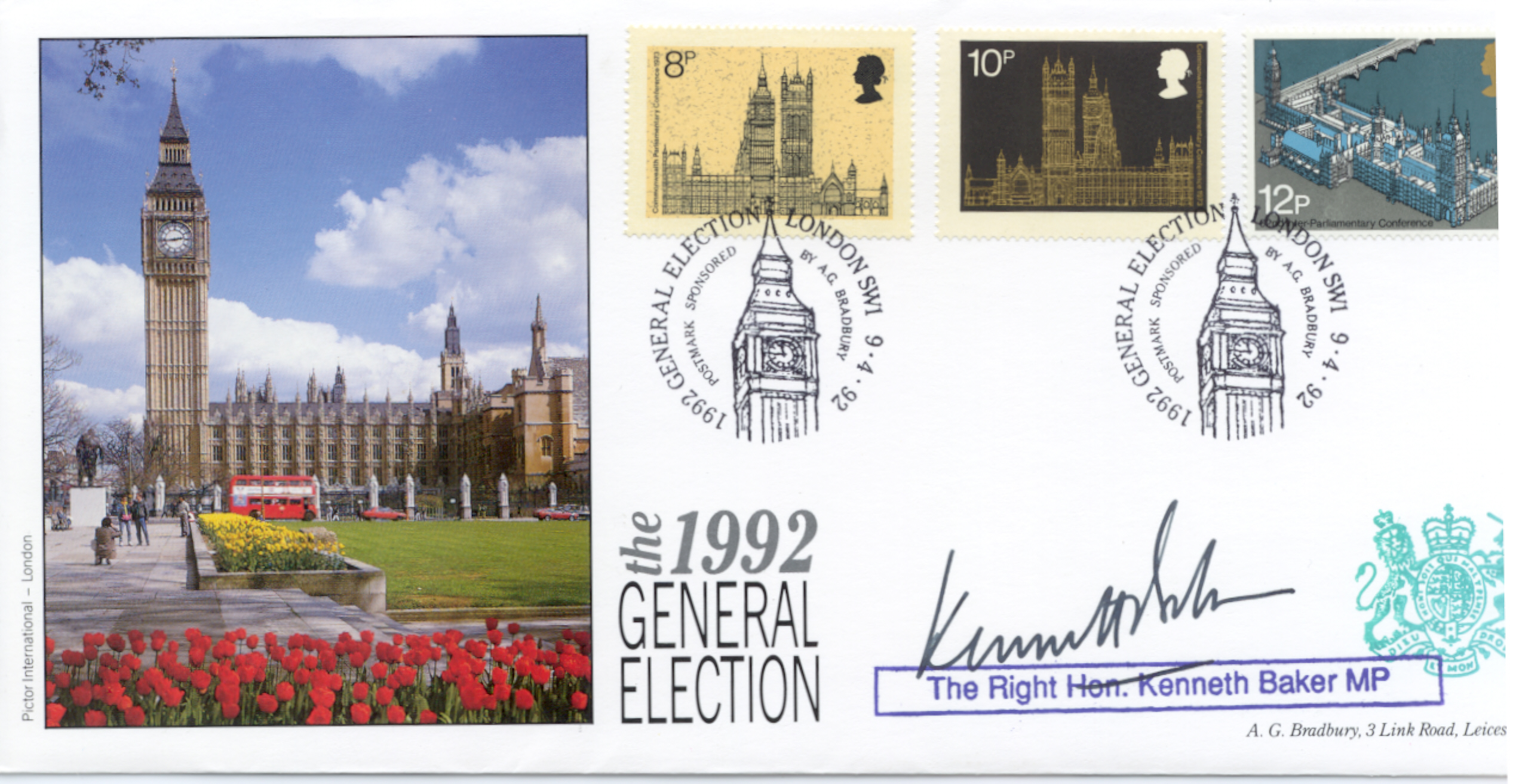 1992 Election Day Cover signed Kenneth Baker