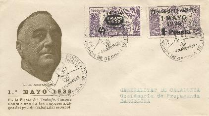 Spain Labor Day Overprints FDC