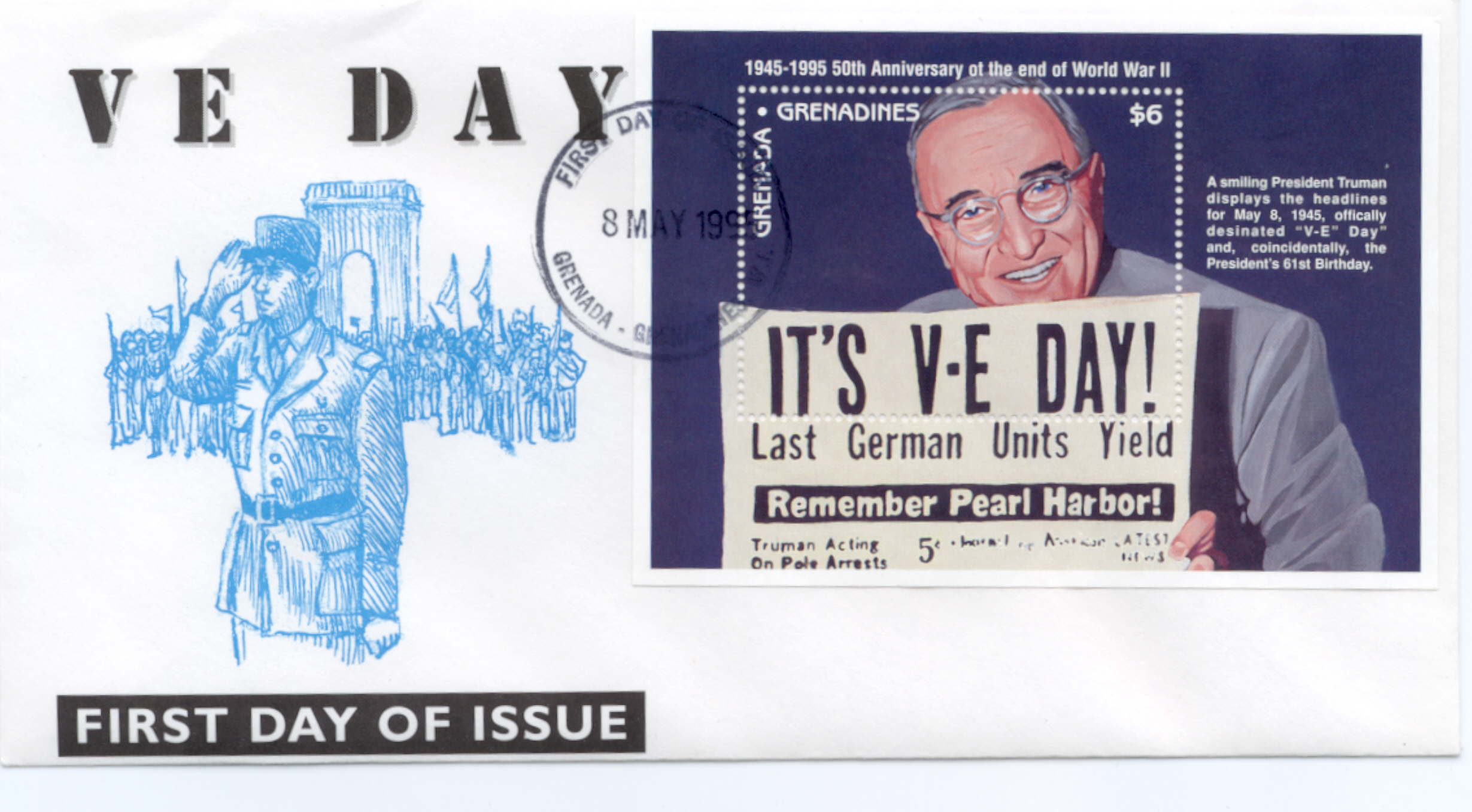 Grenada VE Day SS FDC