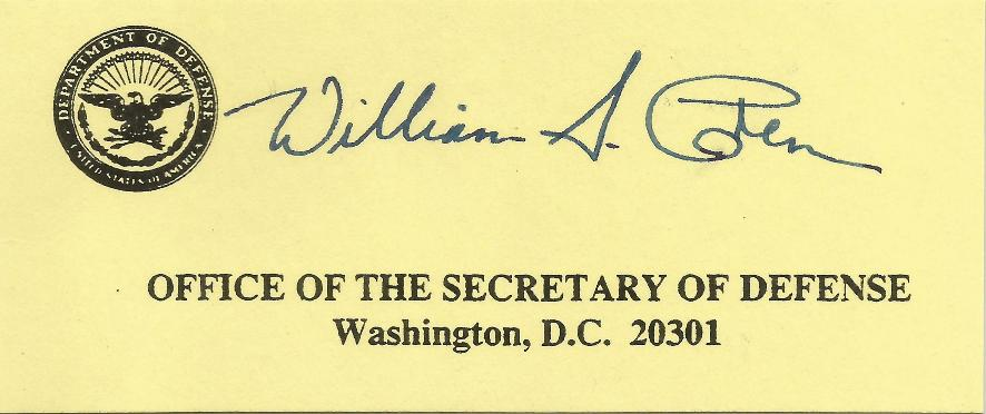 William Cohen - Defense Secretary Calling Card