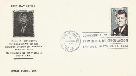 Costa Rica JFK Memorial FDC 12-7-63