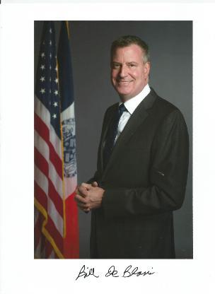Bill de Blasio signed photo