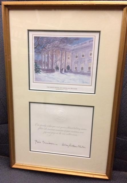 1999 Framed Clinton Christmas Card
