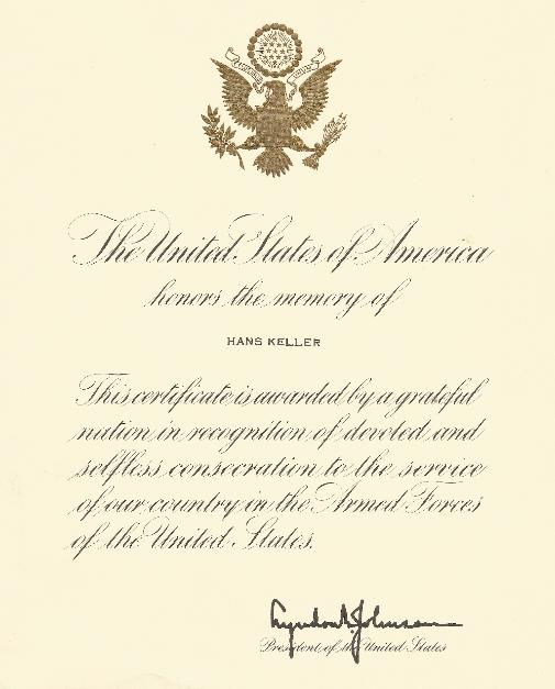 Lyndon Johnson Proclamation for Fallen Soldier