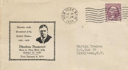 T Roosevelt 34-10-27 Special Event Cover # 7