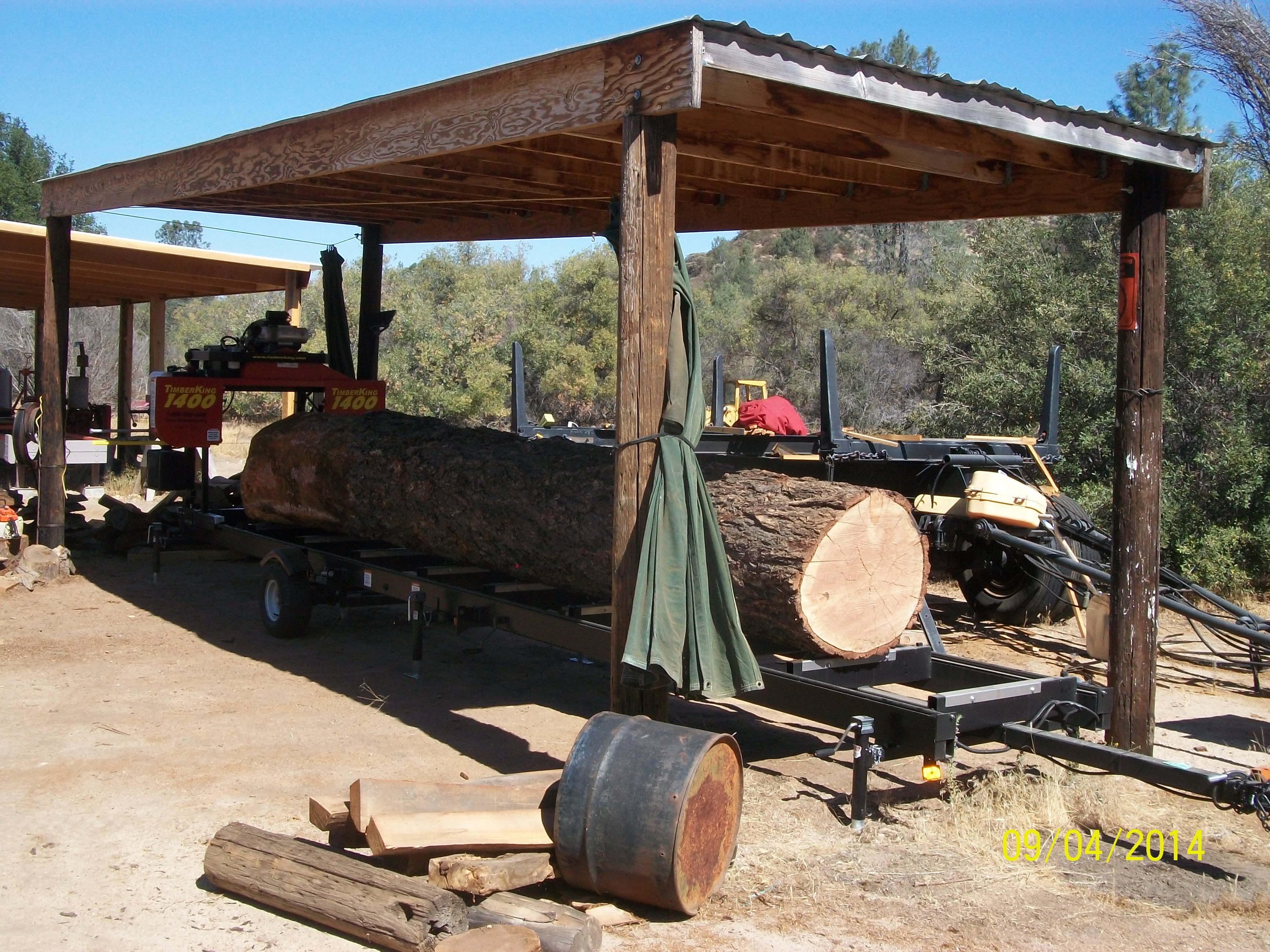 Creston Sawmill, Log ready for milling to lumber