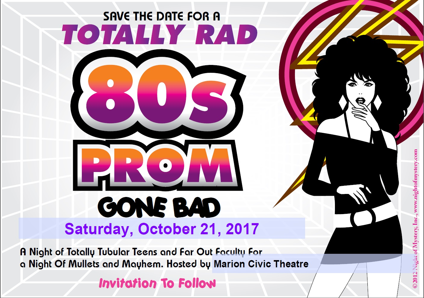 Totally Rad 80s Prom Gone Bad by NightofMystery.com