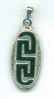 Greek Key Silver Pendant Oval