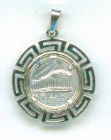 Silver Pendant Parthenon Rising sun