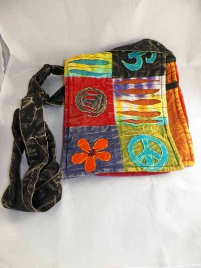 Hippie Messenger Bag with Flowers, Peace Sign and Ohm Symbol w/ Strap