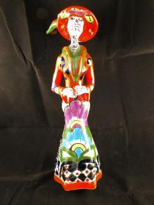 Hand Painted Catrina Talavera Statue