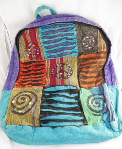 Blue/Purple Boho Hippie Backpack w/ Peace Sign