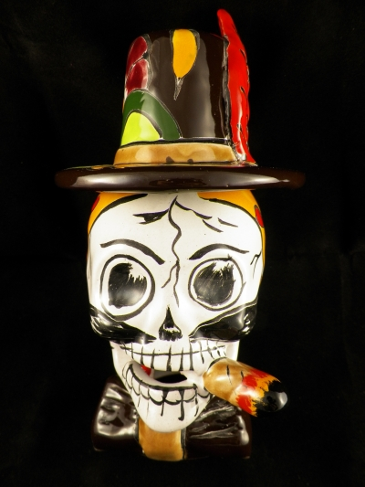 Smoking Talavera Pottery Skull