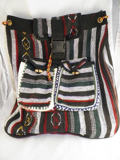 BoHo threaded backpack in Black/Red/Gray