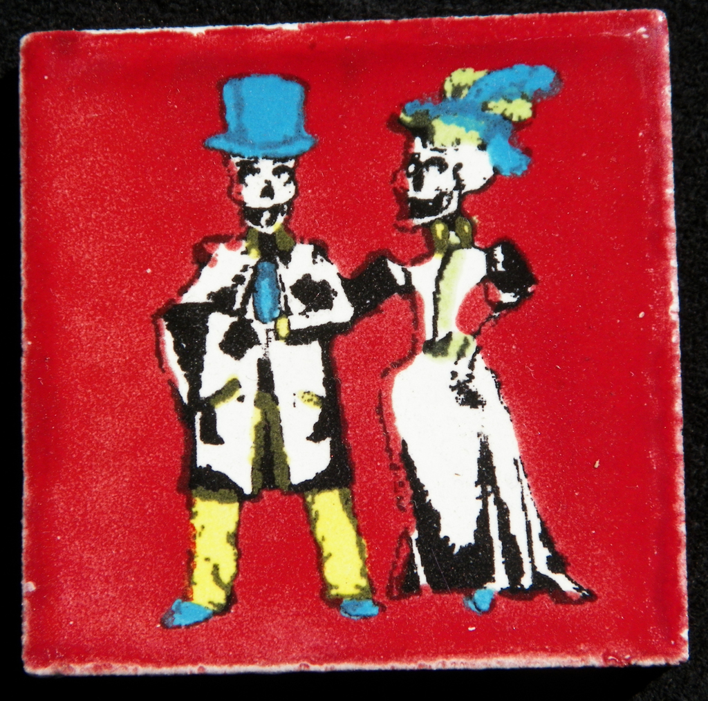 Talavera Tile Catrina & Skeleton Wedding Couple (Red Background)