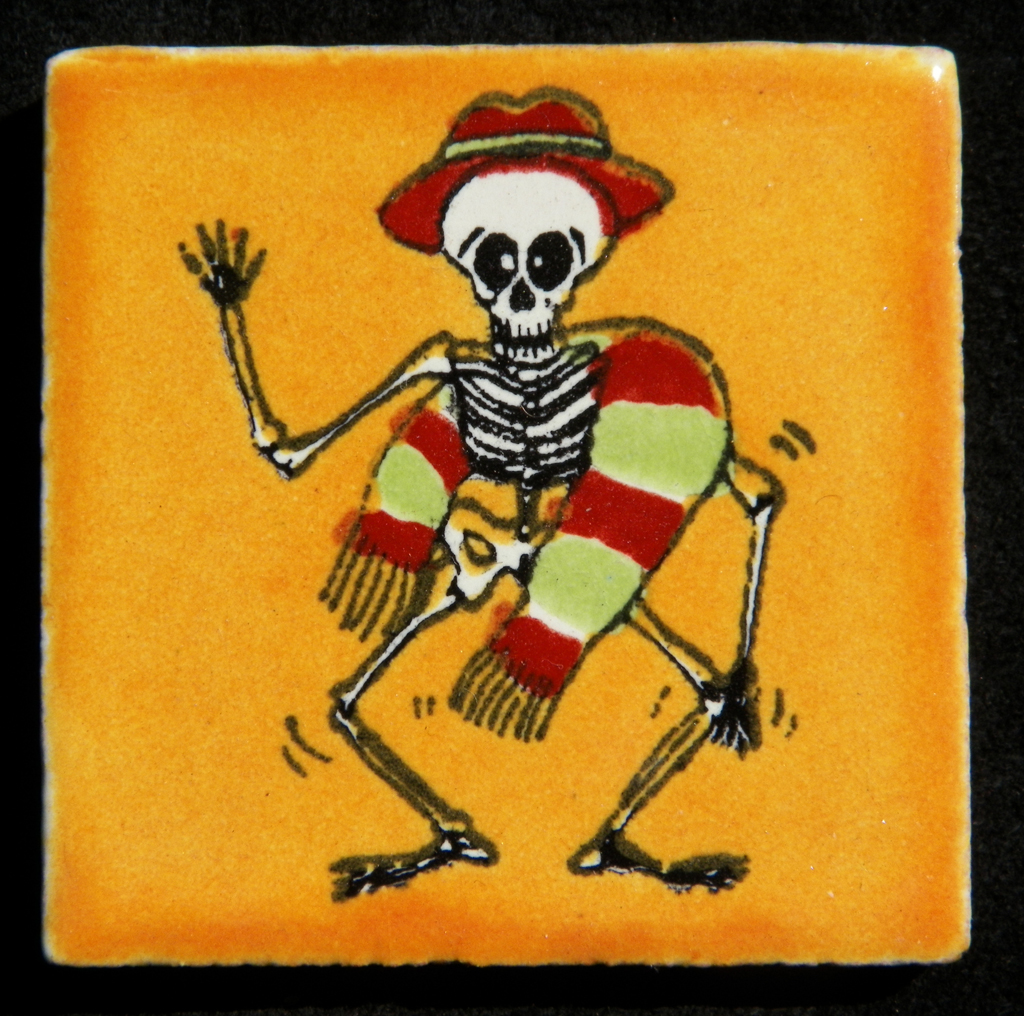 Talavera Tile – Dancing Skeleton (Yellow Background)