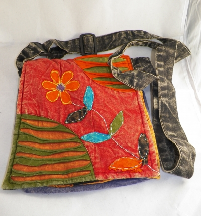 Hippie Messenger Bag with Flowers