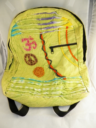 Lime BoHo Hippie Backpack with Ohm symbol