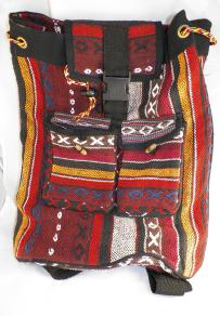 Boho Threaded Backpack - Red/Yellow