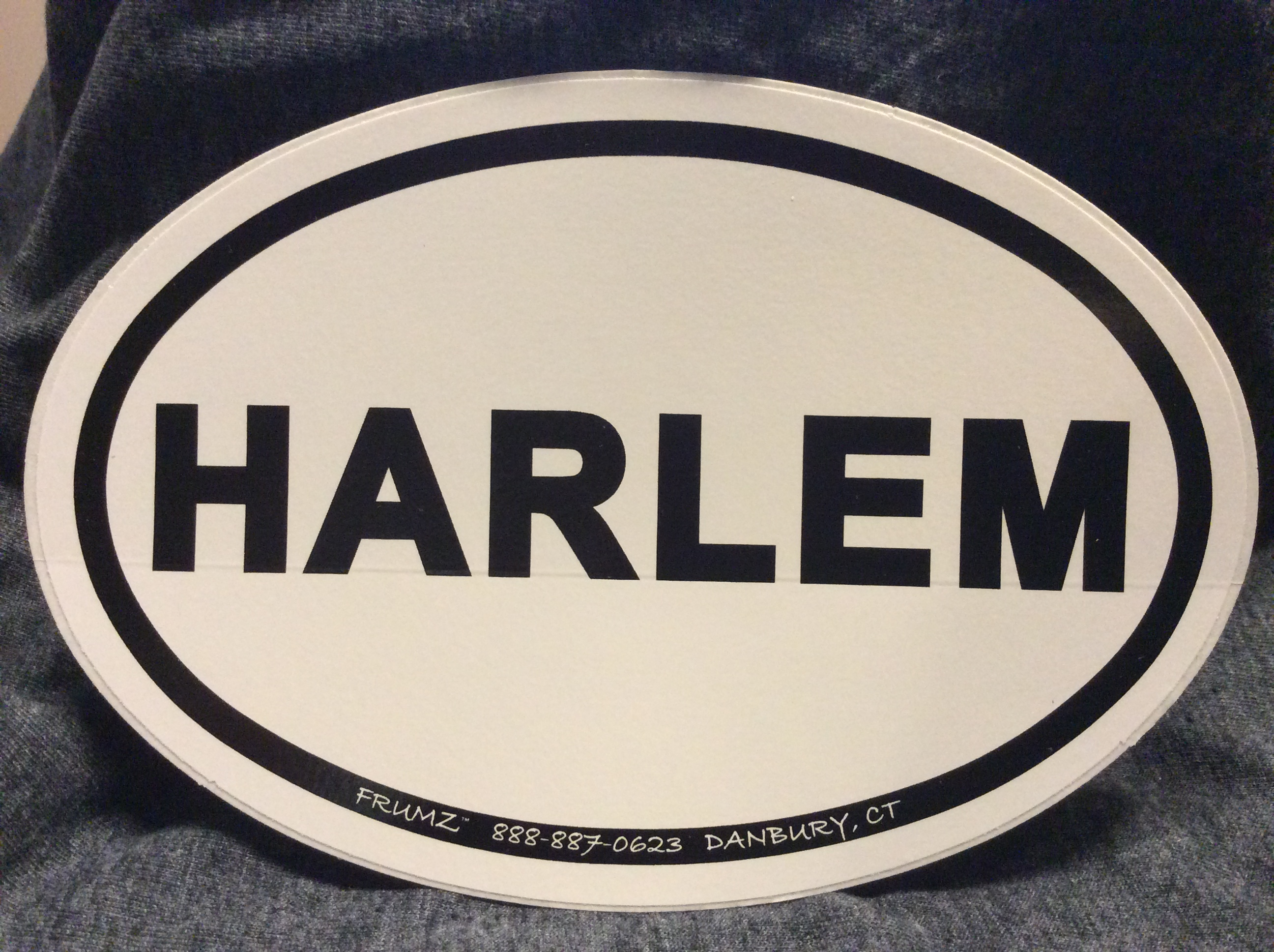 HARLEM oval sticker decal