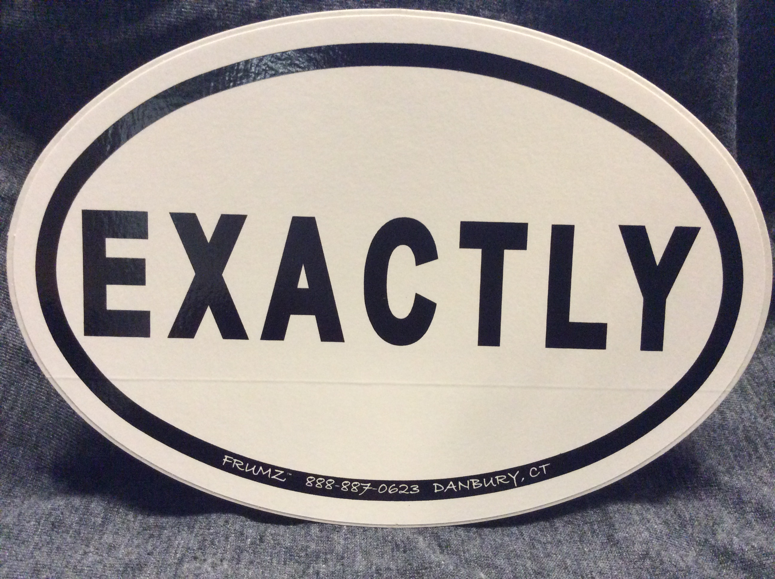 EXACTLY oval sticker decal