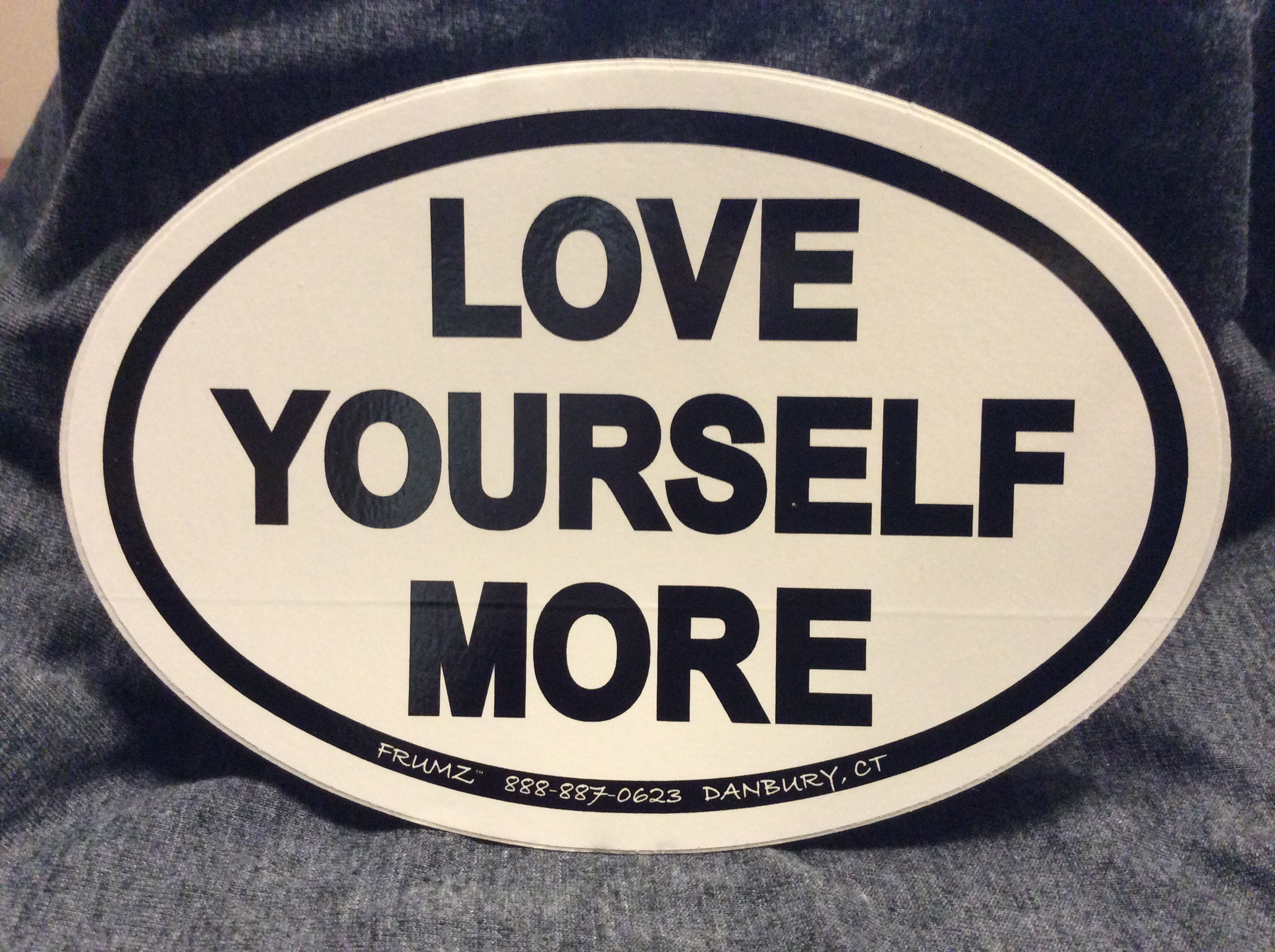 LOVE YOURSELF MORE oval sticker decal