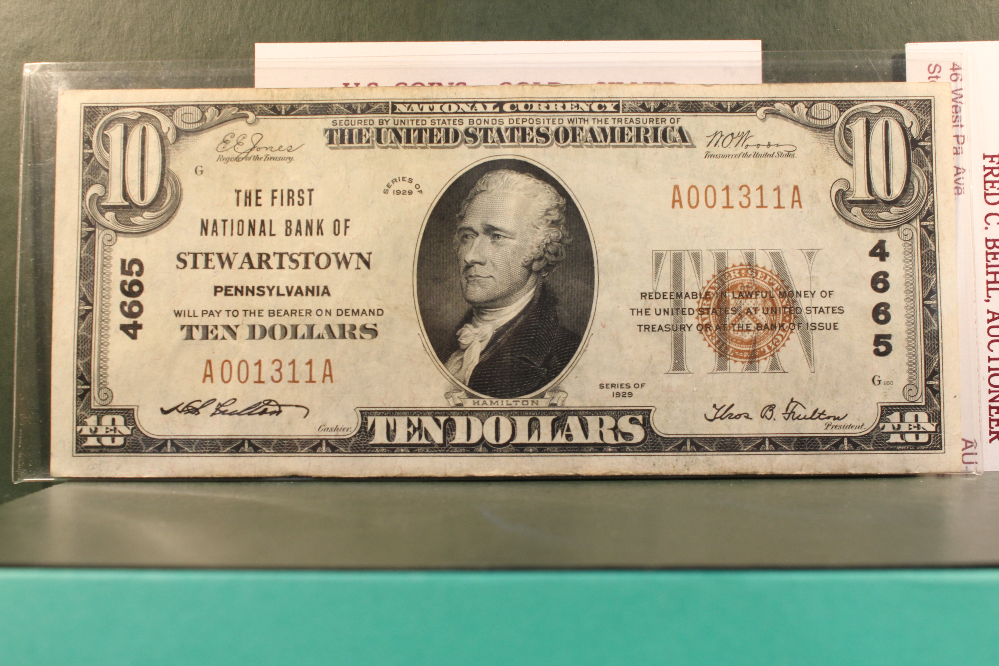 1929 National Currency $10 Stewartstown, PA Charter 4665