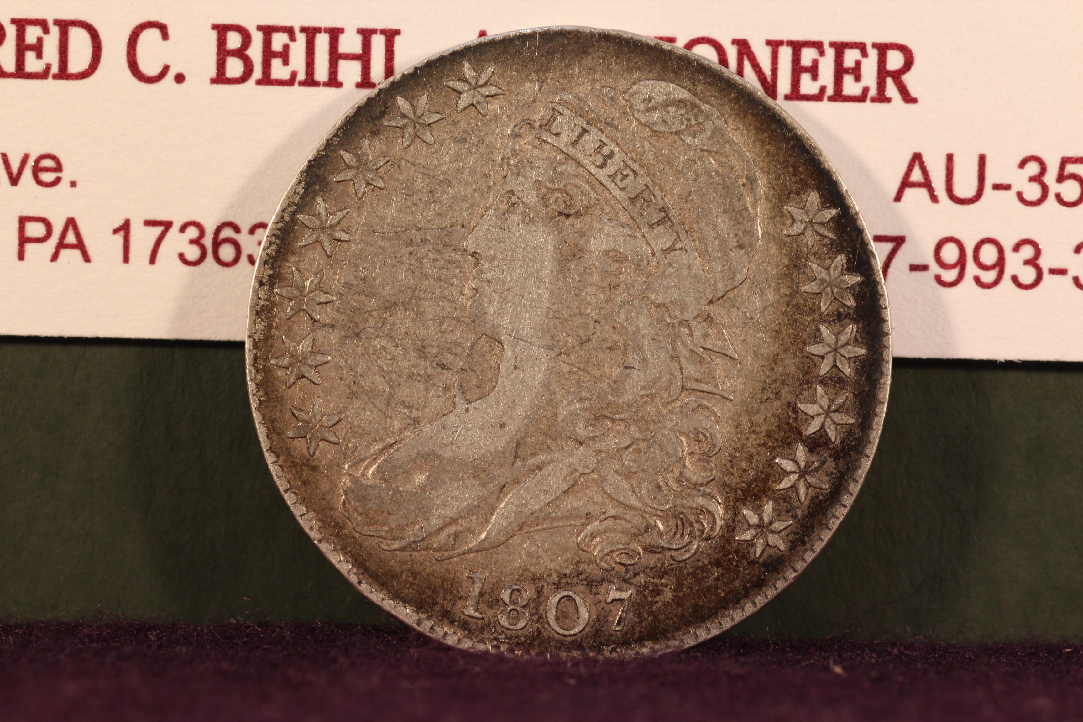 """1807 Capped Bust """"Bearded"""" Half Dollar"""