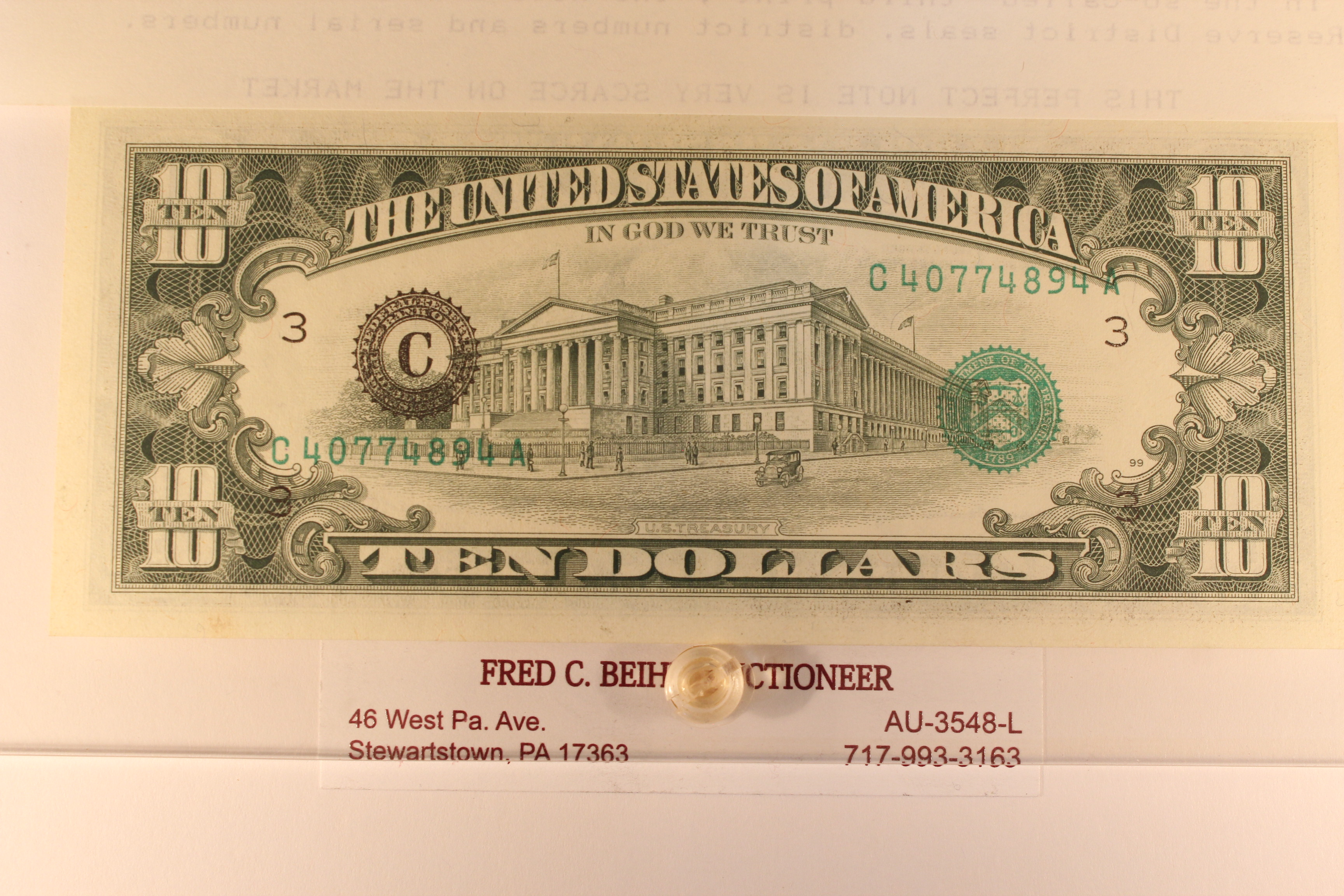 1985 FRN $10 No Front Serial Number