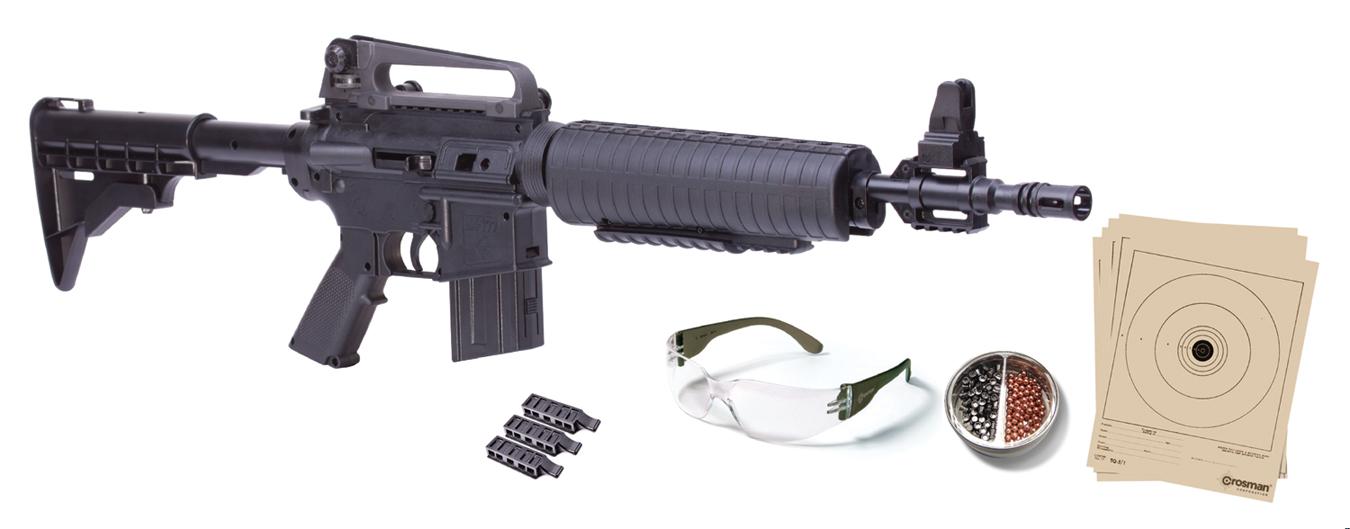 M4-177 KIT (BLACK) TACT BOLT ACTION VAR PUMP AIR RIFLE W/TARGETS & GLASSES