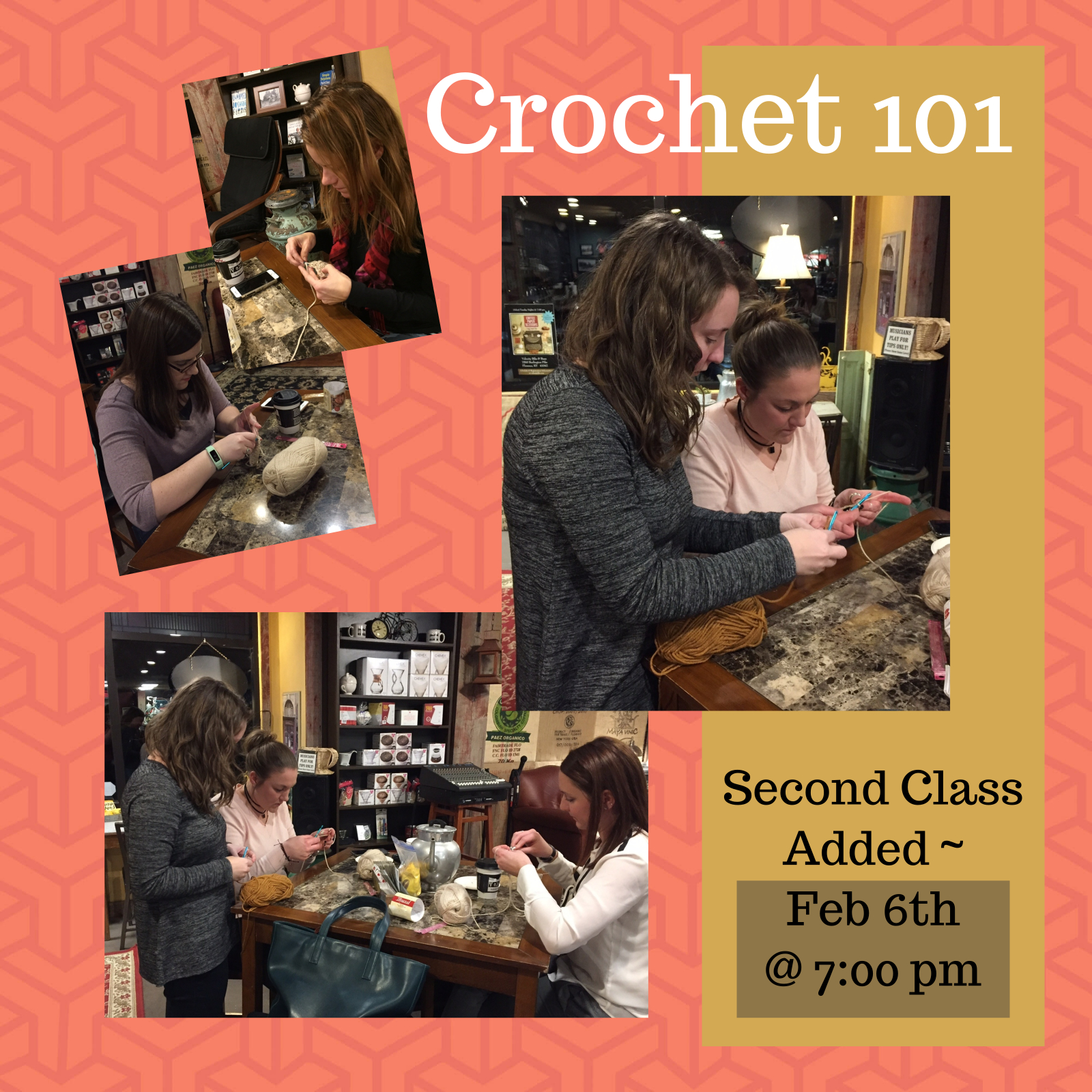 Crochet 101 - Feb 6th @ 7:00 p.m.