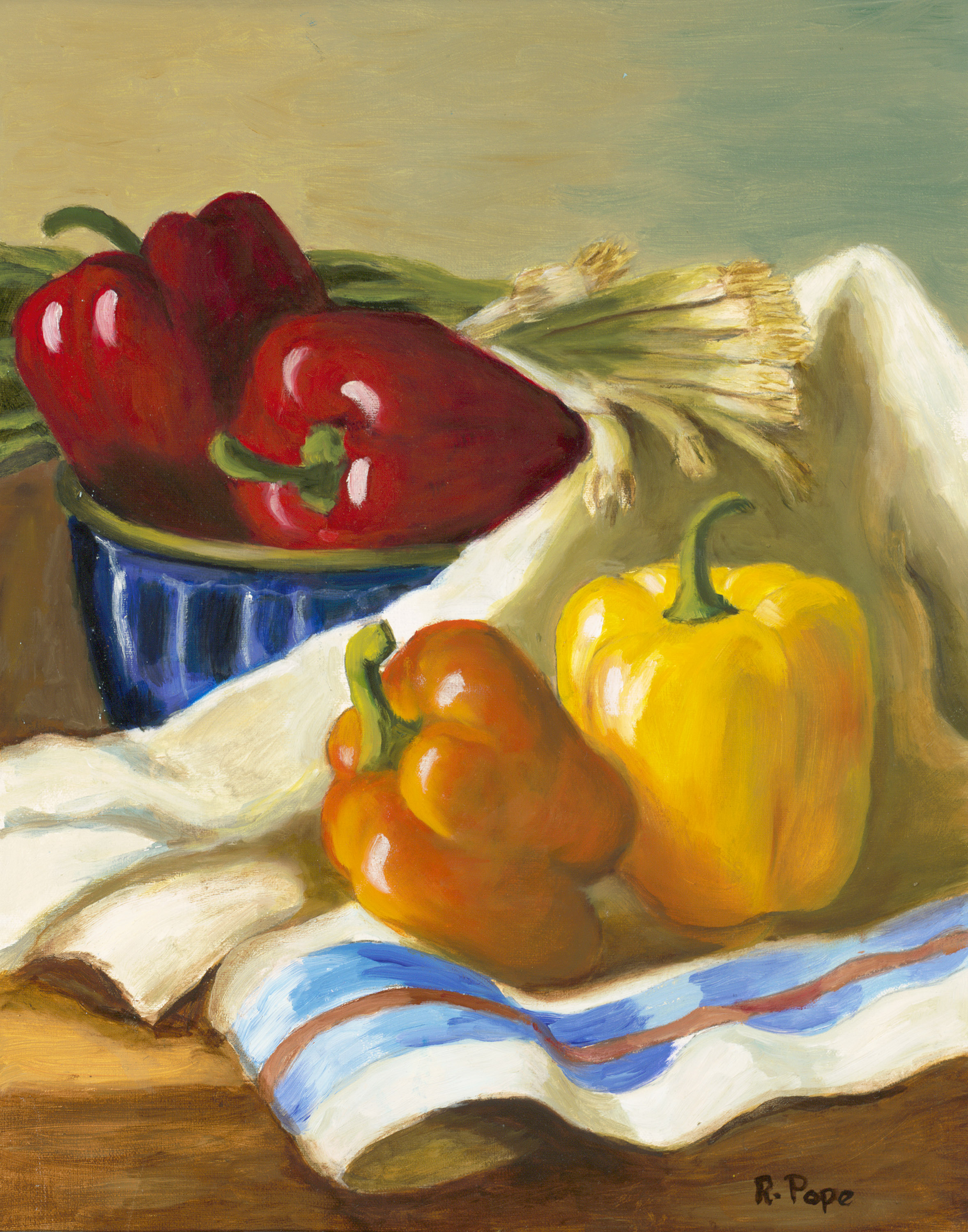 Peppers and Spring Onions/ Oil Painting   $150