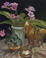 Pink Streps with Chinese Horse/Original Oil      $375